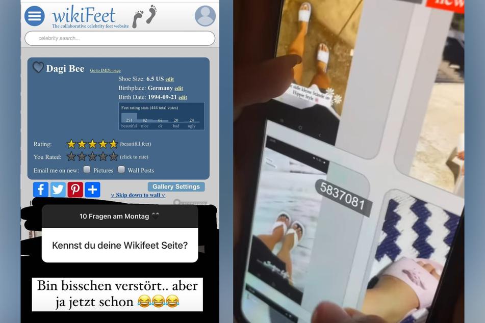 """In einer Instagram-Story entdeckt Dagi Bee (26), dass Bilder von ihren Füßen auf der Webseite """"WikiFeet"""" kursieren. (Fotomontage)"""
