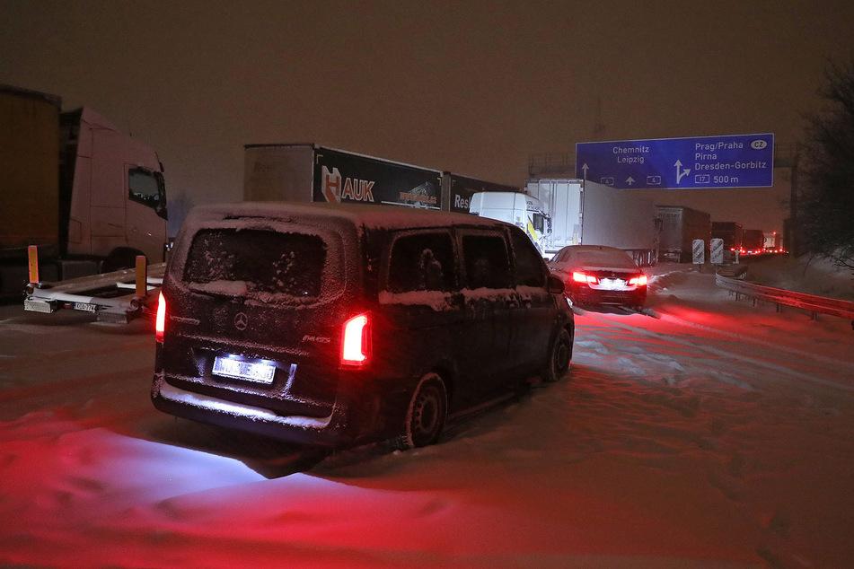 In Richtung Chemnitz ging in der Nacht zu Montag fast nichts mehr.
