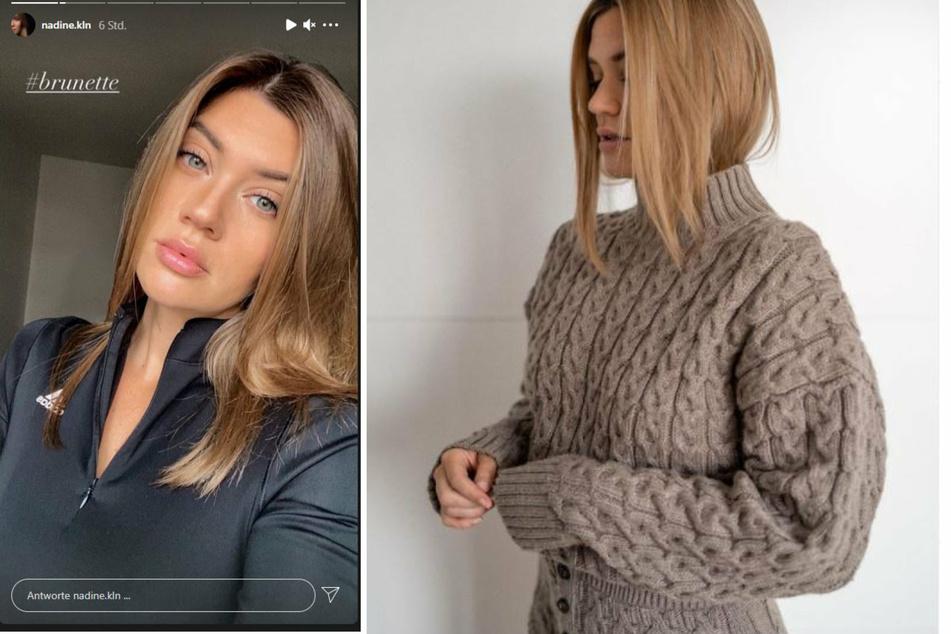 Links im Bild: Nadine Klein (35) zeigt ihre brünetten Haare. Rechts war sie noch deutlich heller.