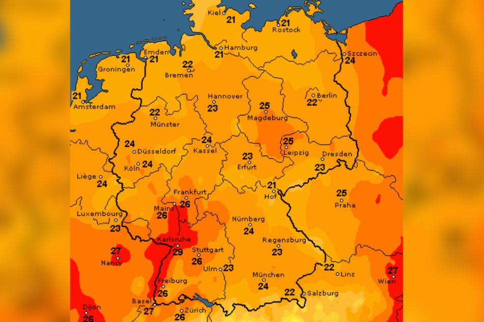 Die Karte zeigt, dass es nächste Woche in weiten Teilen Deutschlands heiß wird.