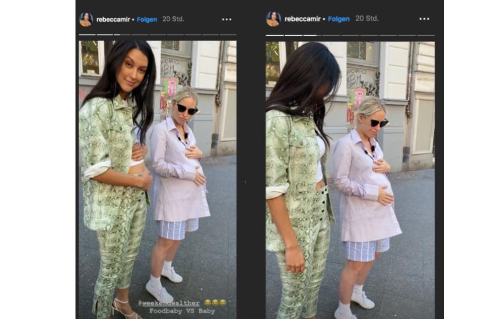 """Model Rebecca Mir (l.) hat, im Gegensatz zur schwangeren Redakteurin neben ihr, nur ein """"Foodbaby"""". (Bildmontage)"""