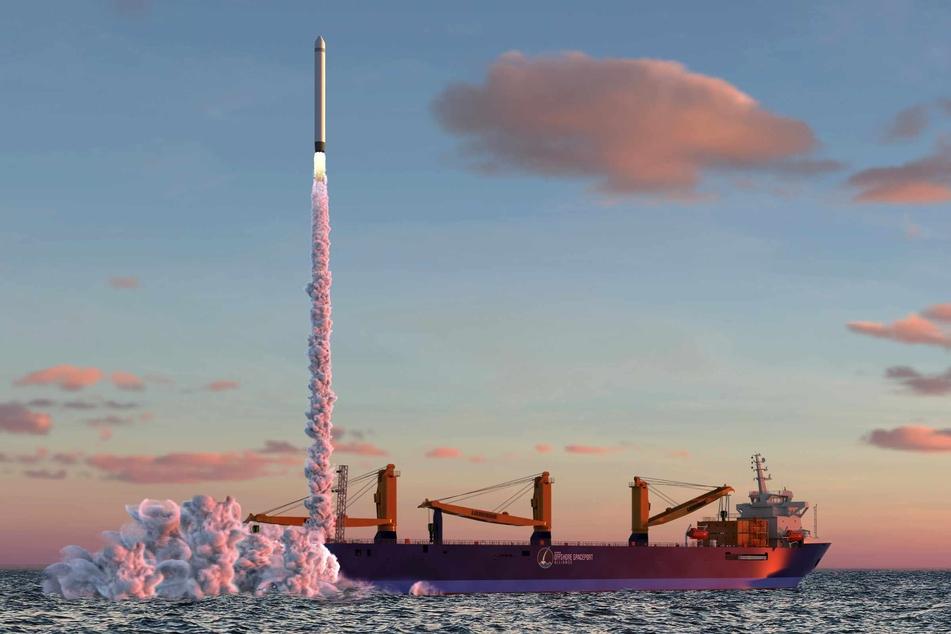 Eine Rakete startet von einer Plattform der German Offshore Spaceport Alliance (GOSA) aus (undatierte Computergrafik).
