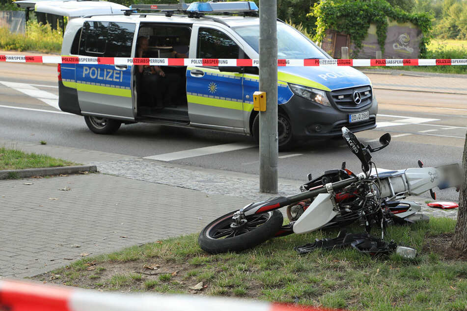 Motorradunfall an der Pirnaer Landstraße, Biker schwer verletzt