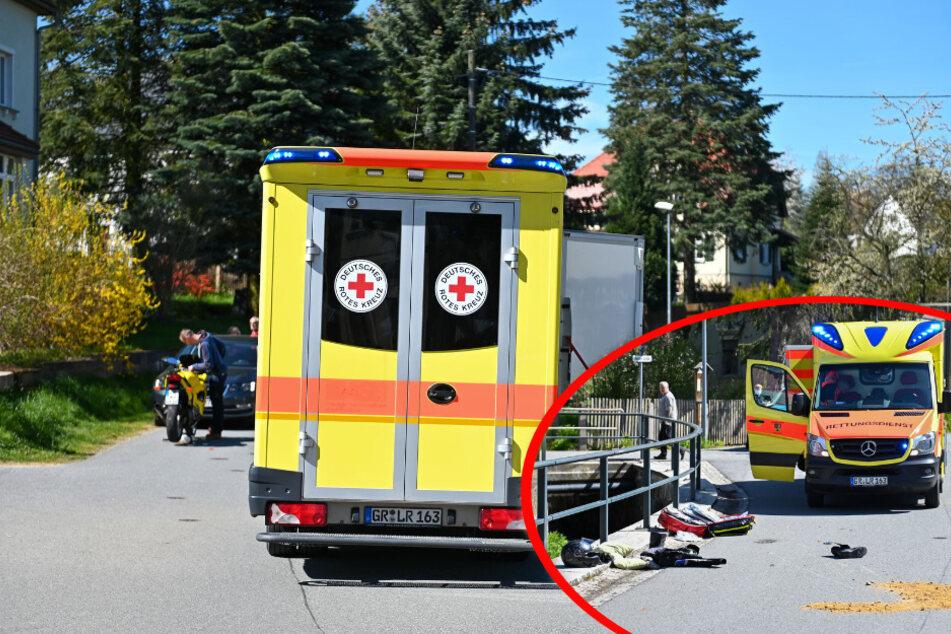 Unfall in Löbau: Biker stürzt und verletzt sich