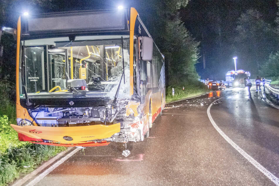 Der Busfahrer wurde bei dem Unfall schwer verletzt. Der Autofahrer hatte keine Chance und verstarb noch an der Unfallstelle.