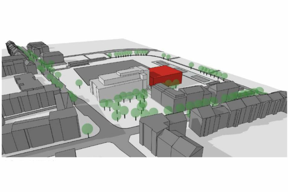 Das Sachsenbad soll zum Gesundheitsbad umgebaut und um einen Neubau (rot) erweitert werden.