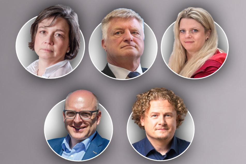 Kämpfen weiter um das Bürgermeisteramt (oben von links): Almut Patt (51, CDU), Ulrich Oehme (60, AfD) und Susanne Schaper (42, Linke). Unten von links: Sven Schulze (SPD, 48) und Lars Faßmann (42, parteilos).