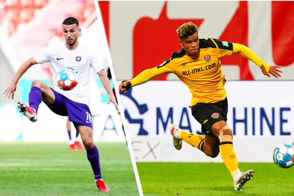 Aues zentraler Mittelfeldspieler Soufiane Messeguem (20, l.) und Dynamo-Angreifer Ransford Königsdörffer (19) wurden für die deutsche U20-Nationalmannschaft nominiert.