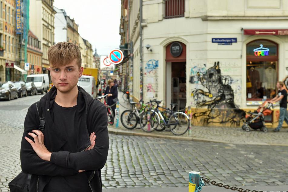 "Linksjugend-Sprecher Florian Berndt (20) will das autofreie ""Assi-Eck""."