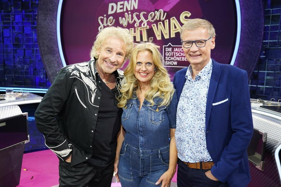 Thomas Gottschalk (71, l.), Barbara Schöneberger (47) und Günther jauch (65) sind wiedervereint.
