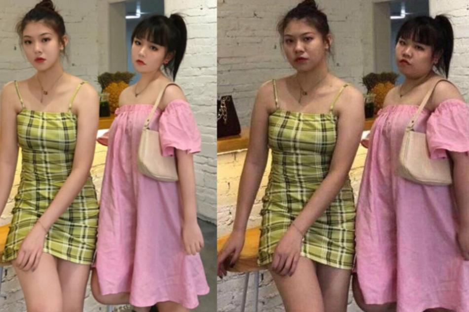Links sieht man die beiden chinesischen Influencer, wie sie sich ihren Fans präsentieren. Rechts ist der originale Schnappschuss.