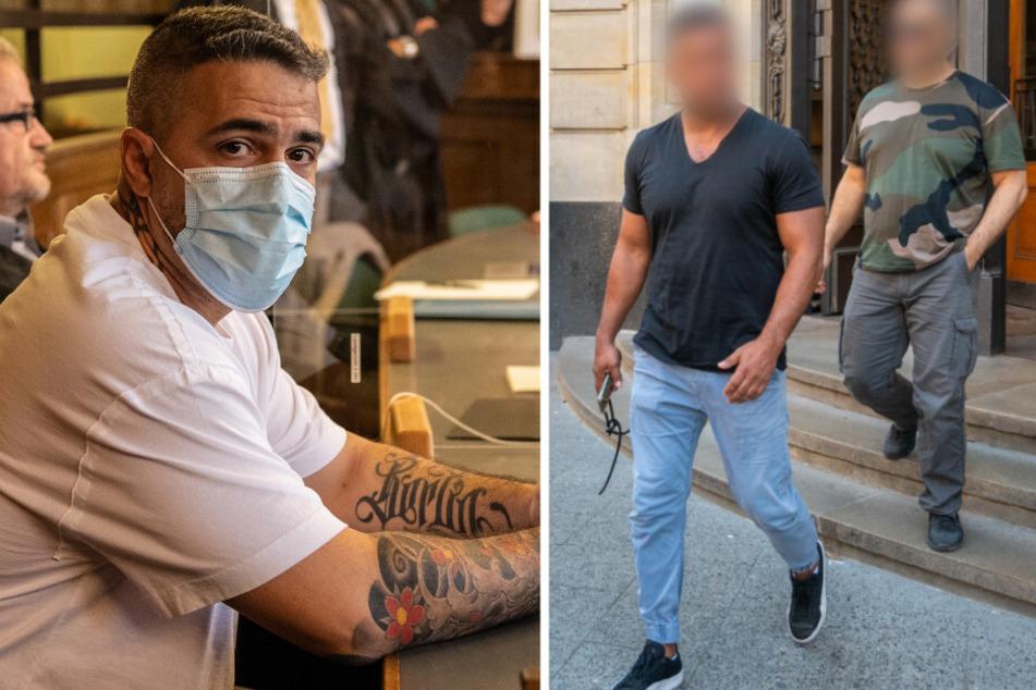 Arafat Abou-Chaker. (44, 2. v. r) und ein Mitangeklagter (r.) kommen nach einer Gerichtsverhandlung aus dem Landgericht. Bushido (42, l.) hat seine Corona-Infektion überstanden.