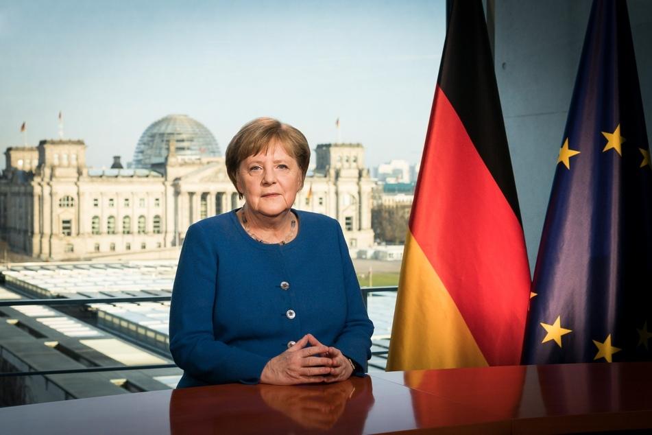 Bundeskanzlerin Angela Merkel während der Fernsehansprache im Bundeskanzleramt am Mittwoch.