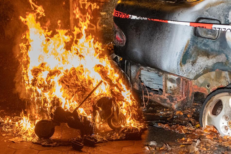 Nächtliche Brandserie: Auto und Container stehen in Flammen