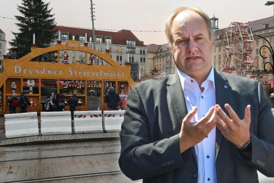 Kaum vorstellbar, dass im Advent über die Wilsdruffer Straße der Verkehr rollt, zumal der Striezelmarkt sich bis zur Elbe zieht. Der OB Dirk Hilbert (48, FDP) will den Striezelmarkt unbedingt ermöglichen.