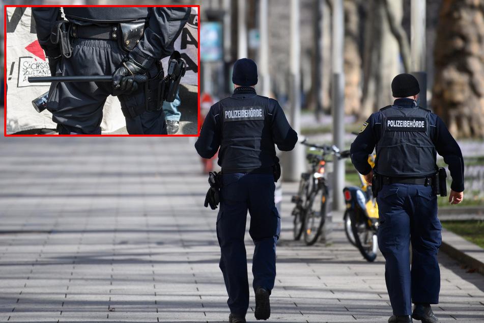 Kommunale Vollzugsbeamte: Sie sehen vielfach schon aus wie Polizisten, sind aber Mitarbeiter der städtischen Verwaltungen. Künftig sollen sie in Sachsen auch den Schlagstock einsetzen dürfen (rot umrandetes Bild). In anderen Bundesländern dürfen sie das bereits (Bildmontage).
