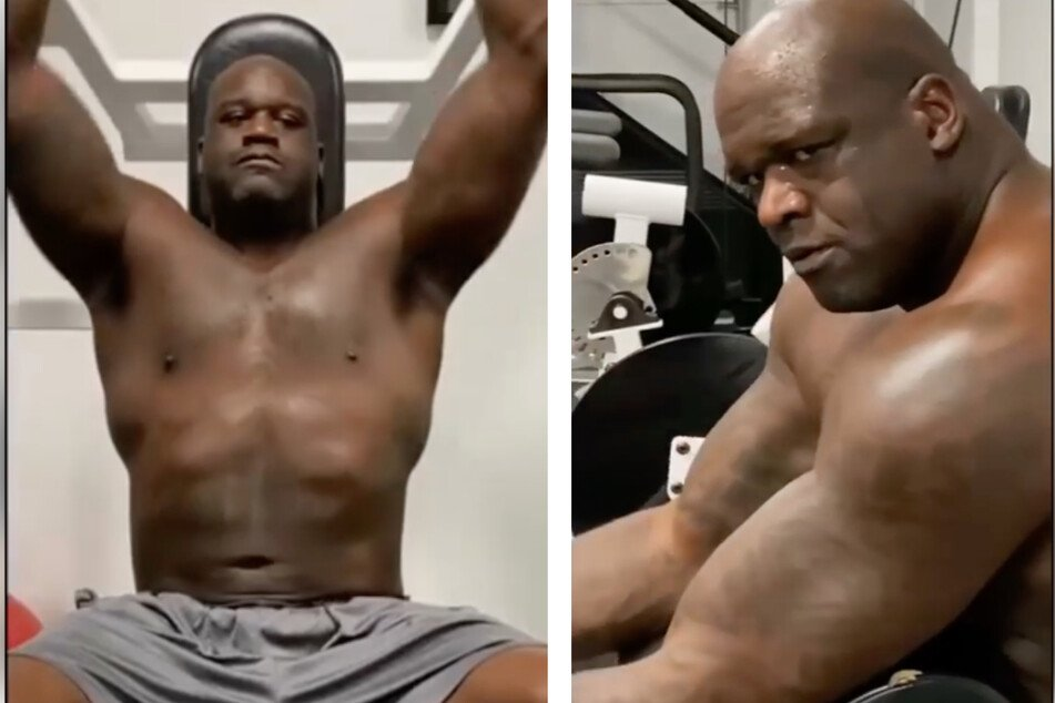 O'Neal shared pictures of himself training for the wrestling match on his Instagram channel (collage).