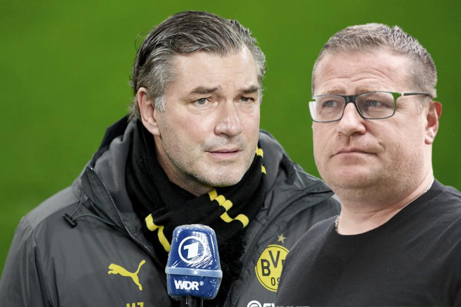 Michael Zorc (58, l.) und Max Eberl (47). Droht erneut ein Zweikampf auf dem Transfermarkt? (Bildmontage)