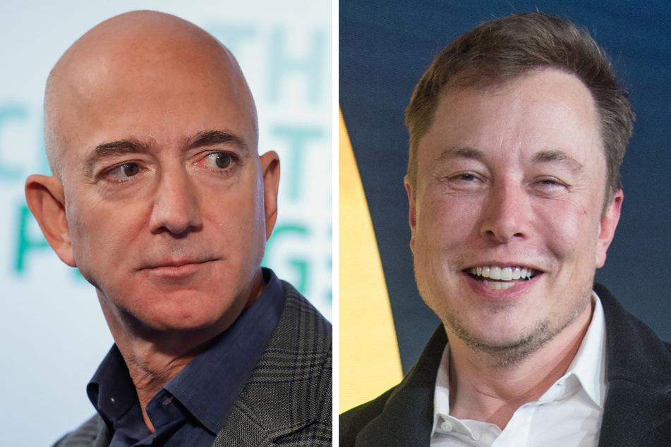 Jeff Bezos (57, l.) und Elon Musk (50) sind zwei rivalisierende Milliardäre - auch im Bereich der Raumfahrt.