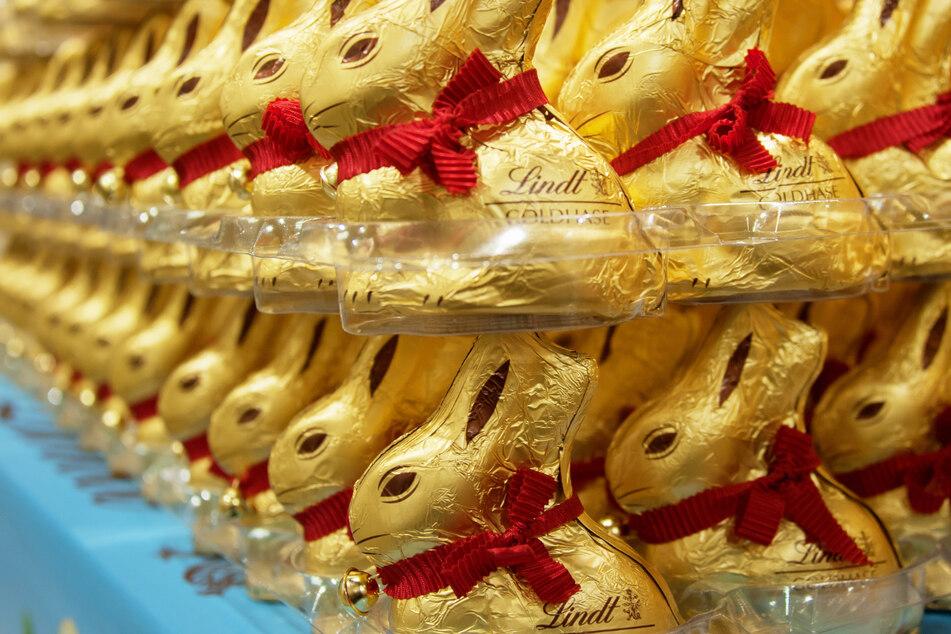 Typischer Anblick vor Ostern im Supermarkt: Goldene Lindt-Hasen in Reih und Glied.