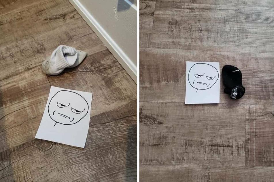 """Eine Mutter möchte mit dem """"Are you Kidding me?""""-Meme ihren Kindern auf liebevolle Art Manieren beibringen. Zum Beispiel sollen Socken aufgeräumt werden."""