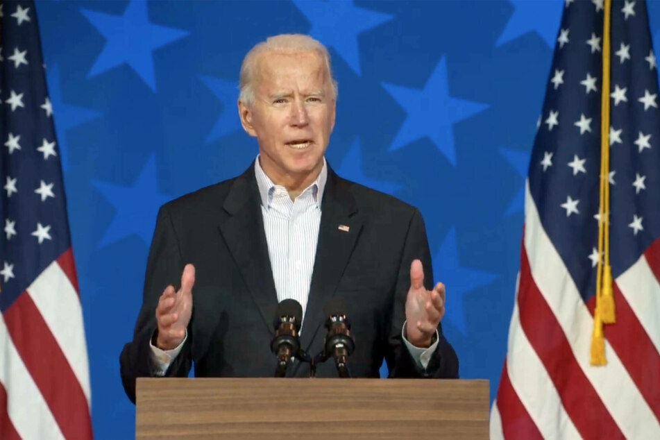Democratic presidential candidate Joe Biden giving an addressing from his base in Wilmington, Delaware.