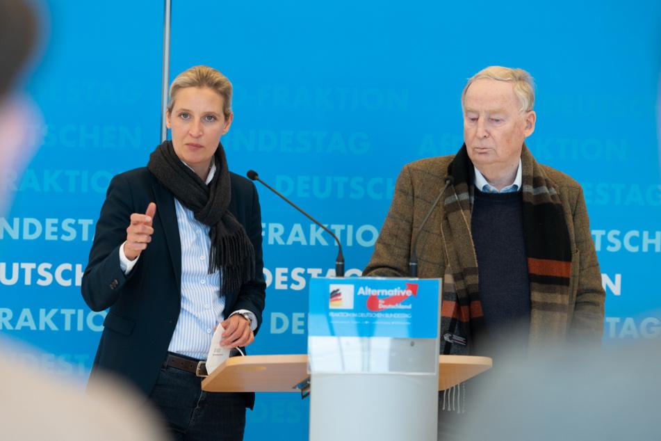 Berlin: Die AfD-Fraktionsvorsitzenden Alice Weidel (42) und Alexander Gauland (79) sprechen zu Medienvertretern.