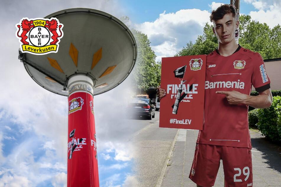 Vor DFB-Pokalfinale: Bayer Leverkusen schmückt Stadt in Vereinsfarben