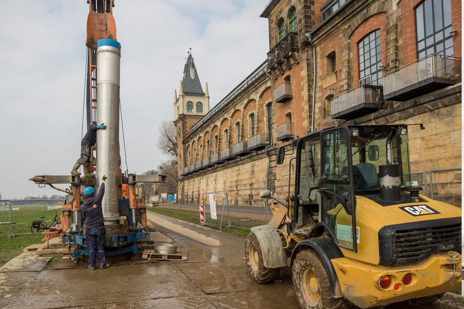 Auftakt-Bauarbeiten im März am alten Wasserwerk Saloppe. Bis zum Jahresende sollen hier neue Brunnen entstehen.