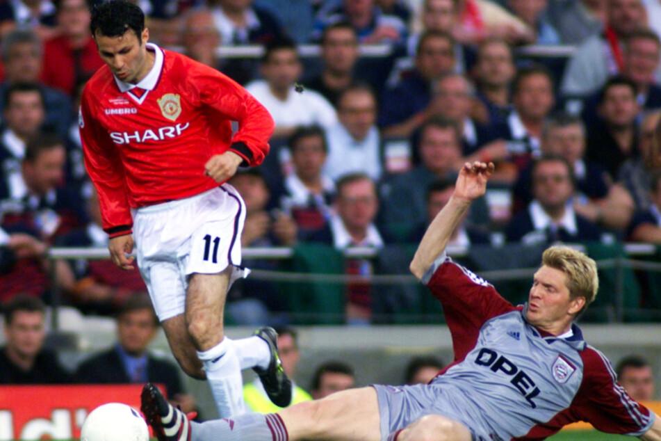 Ryan Giggs (46, l.) stieg bei Manchester United zur Legende auf. Hier versucht Bayerns Stefan Effenberg, ihn im Champions-League-Finale 1999 zu stoppen.