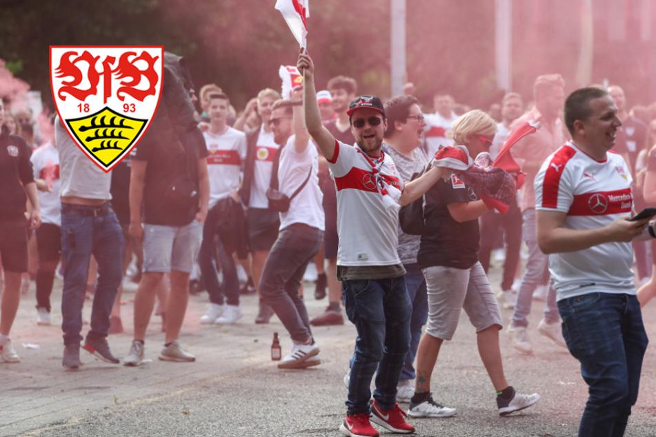 """Nie mehr 2. Liga"": VfB-Fans feiern Mega-Sause vor dem Stadion"