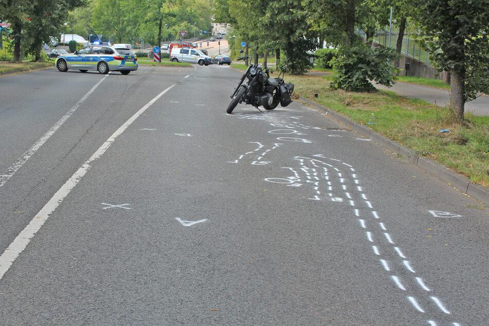 Die Unfallstelle auf der Friedrich-Ebert-Straße in Velbert-Mitte (Fahrtrichtung Essen)
