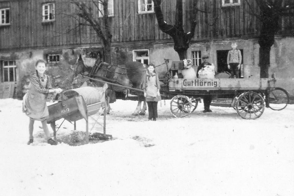 Die Aufnahme um 1943 zeigt Christian Hörnig als kleinen Jungen auf dem Wagen mit seinen Schwestern. Im Hintergrund die noch heute stehenden Linden.