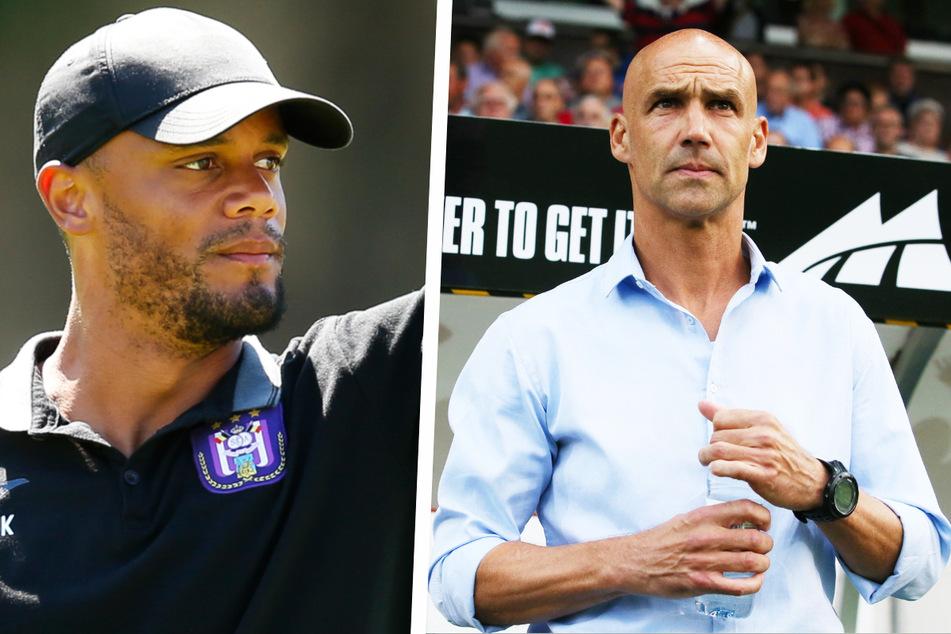 Ex-Man-City-Star Vincent Kompany (35, l.) coacht mittlerweile den RSC Anderlecht, während der frühere Aue-Trainer Thomas Letsch (52) für Vitesse Arnheim verantwortlich ist.
