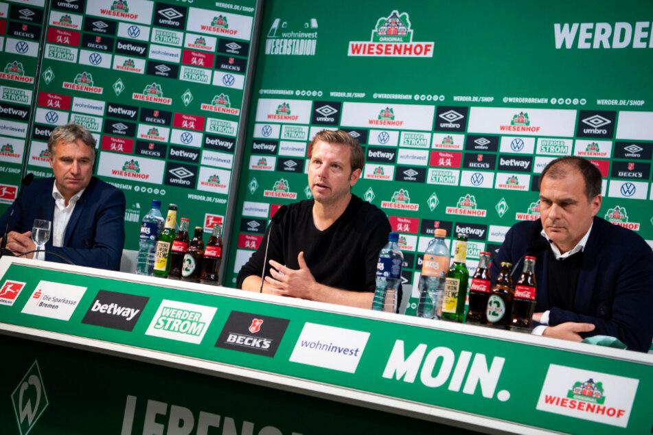 Aufsichtsratschef Marco Bode (l.) und Geschäftsführer Klaus Filbry (r.) haben sich entschieden: Trainer Florian Kohfeldt darf im Amt bleiben.