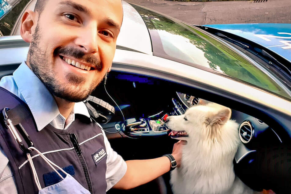 """Ein Polizeibeamter krault Hund """"Anno""""."""