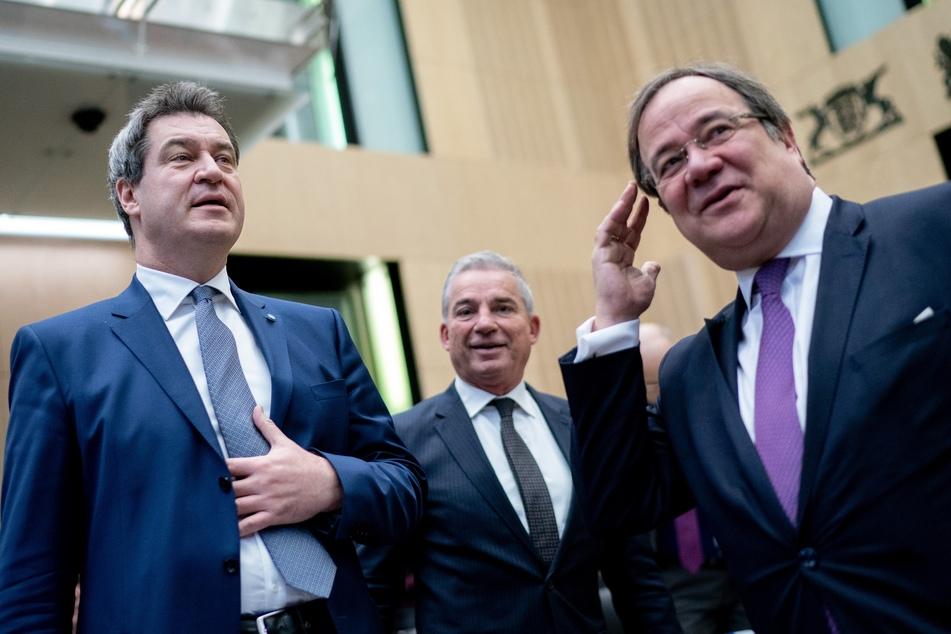 Markus Söder (54, CSU, l.) und Armin Laschet (60, CDU, r.) haben derzeit nicht sonderlich viel Rückenwind im Hinblick auf die Bundestagswahl.