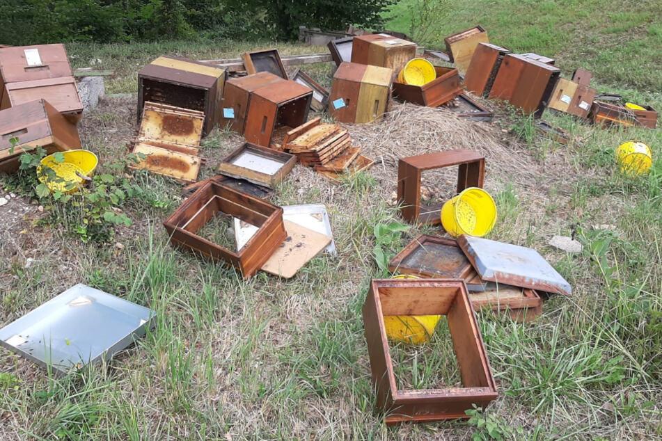 Beschädigte Bienenstöcke liegen auf einer Wiese. Ein Unbekannter hat einen Bienenstand beschädigt und so vermutlich den Tod Hunderter Bienen verursacht.