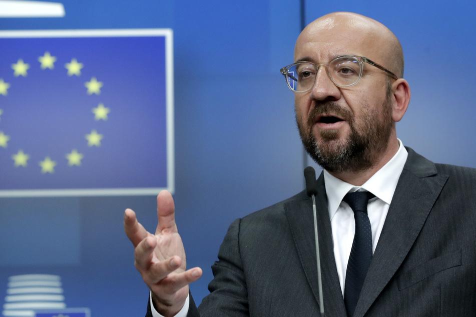 Charles Michel, EU-Ratspräsident, spricht während einer Pressekonferenz nach einem EU-Gipfel.