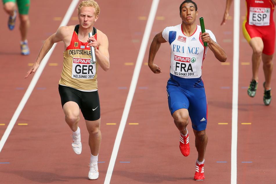 Supersprinter Martin Keller (l.) in Aktion - hier in der 4x100-Meter-Staffel bei der Europameisterschaft 2012 in Helsinki.