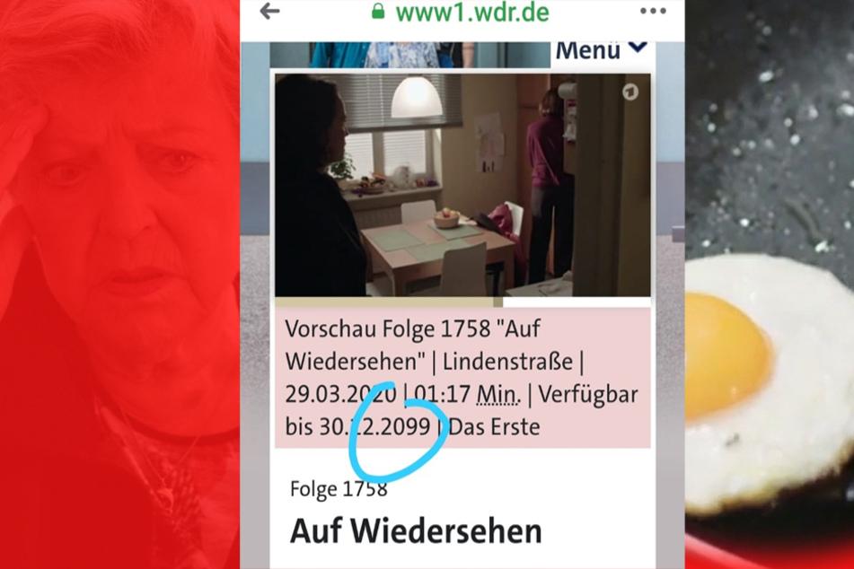 """Sidekick: Absicht oder Vertipper? Angeblich ist die letzte """"Lindenstraße"""" bis 2099 in der ARD-Mediathek zu sehen..."""