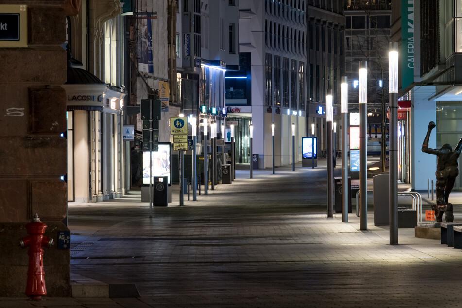Leere Straßen in Leipzig.
