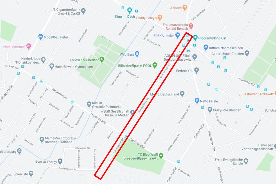 Der Vorfall ereignete sich auf der Bärensteiner Straße in Dresden-Striesen.