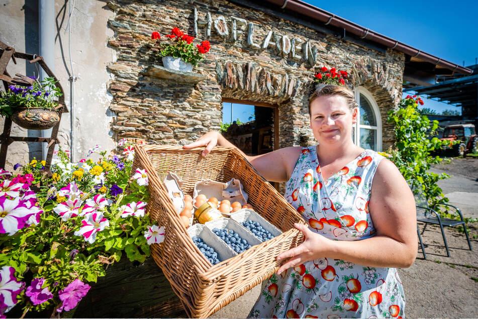 Sarah Kretzschmar (34), Chefin des Biohofs Kretzschmar in Gersdorf, beliefert die Food-Boxen.
