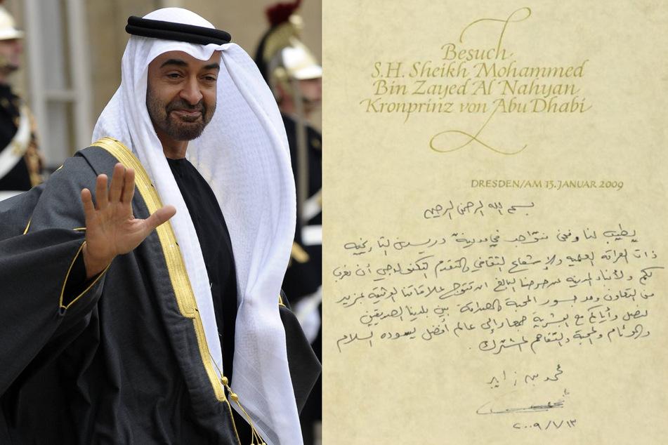 Sheikh Mohammed bin Zayed von Abu Dhabi hatte sichtlich Spaß am Schreiben. (Bildmontage)
