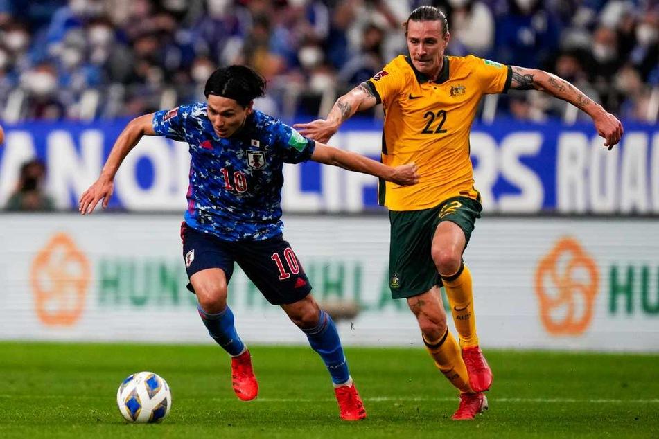 Jackson Irvine (28, rechts) musste mit Australien gegen Japan ran und verlor erstmals nach elf Siegen in der WM-Qualifikation wieder eine Partie.