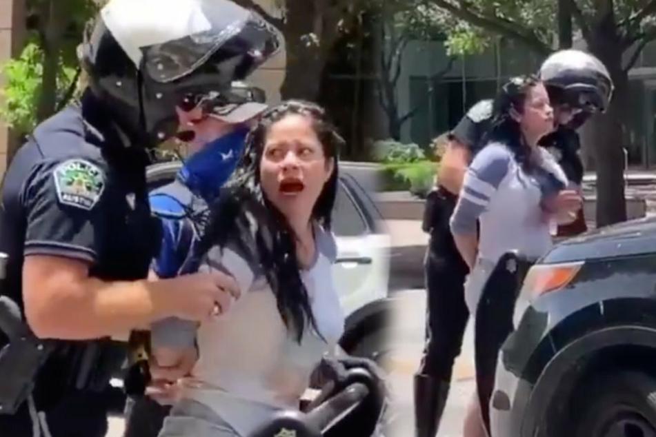 Der Polizist fummelt genüsslich an der Frau herum (r). Wutentbrannt dreht sich die Dame daraufhin um (l).