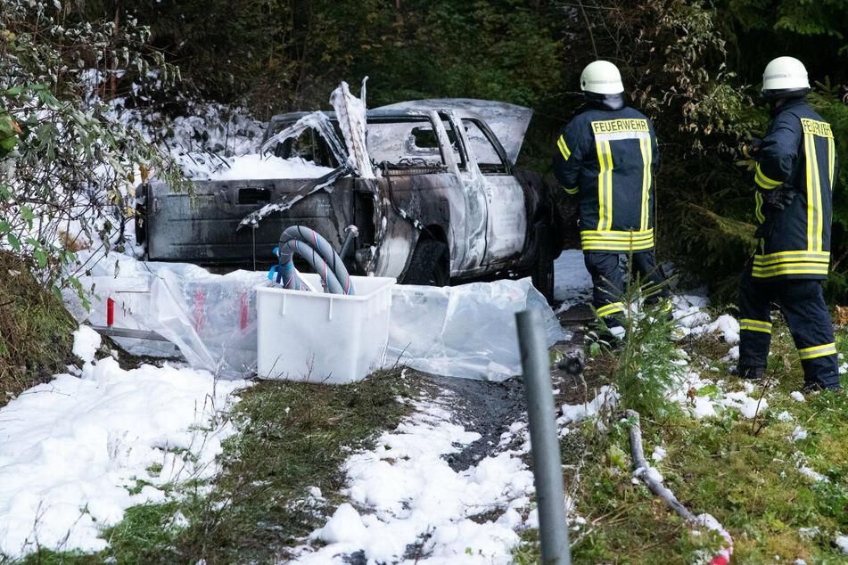 In Marienberg brannte ein Pick-up aus.