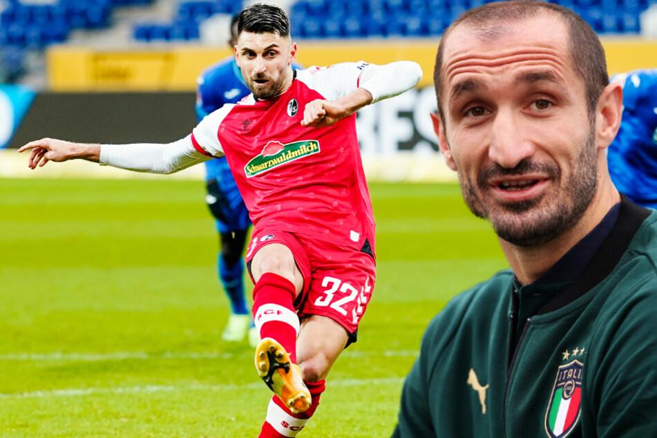 Freiburgs Vincenzo Grifo (28, l.) hält große Stücke auf seinen Landsmann, den Kapitän der italienischen Nationalmannschaft Giorgio Chiellini (36). (Fotomontage)