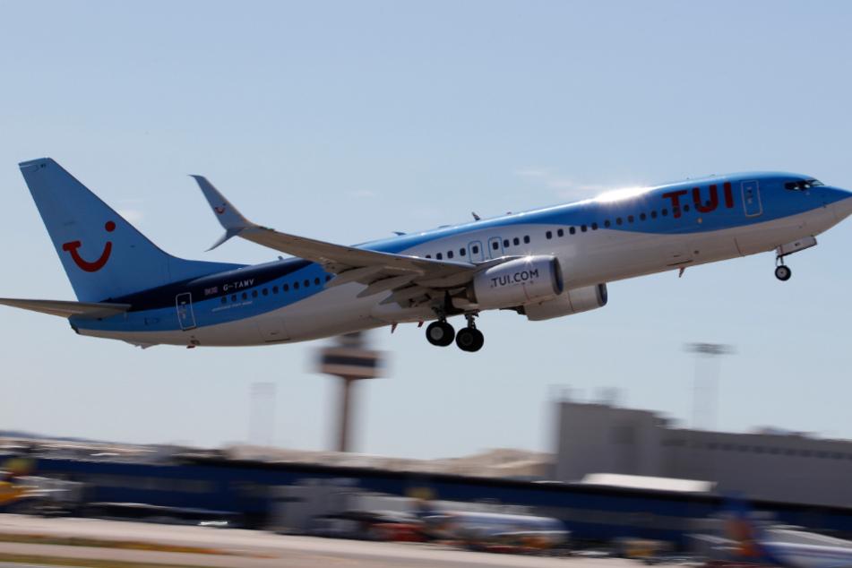 Ein TUI-Flugzeug startet vom Flughafen Palma. Der Reisekonzern Tui will bereits in wenigen Wochen wieder Reisen zu verschiedenen Zielen durchführen - unter anderem nach Mallorca.